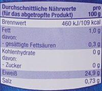 Thunfisch Filets - Voedingswaarden - de