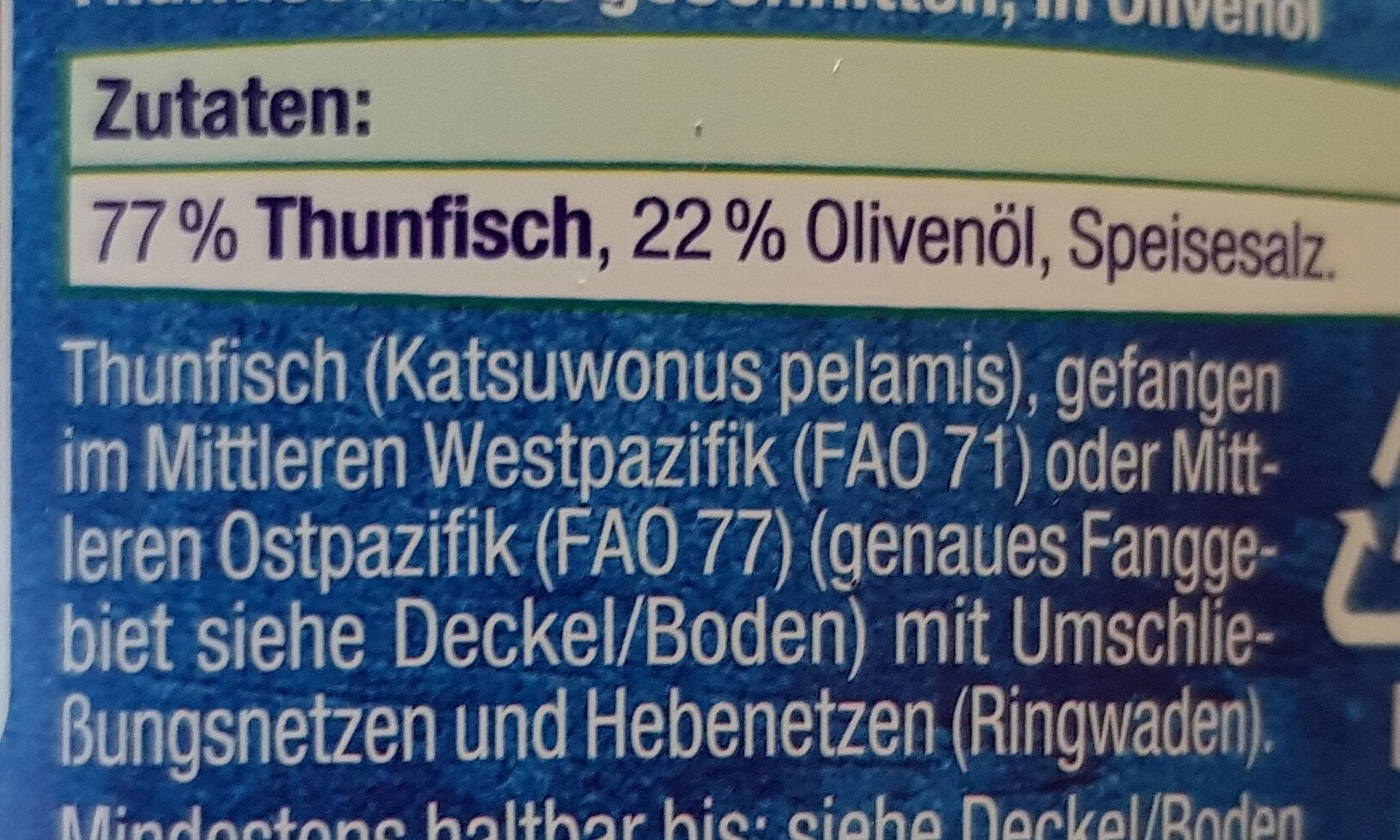 Thunfisch Filet in Olivenöl - Zutaten - de