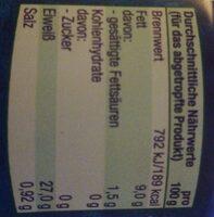 Thunfisch Filet in Olivenöl - Nährwertangaben - de