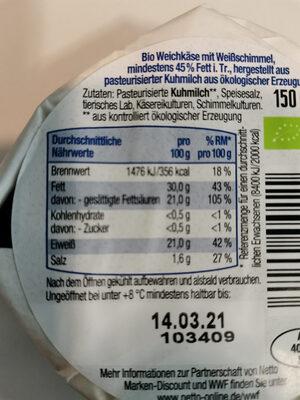 BioBio Camembert classic - Informations nutritionnelles - de