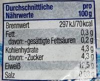 viva vital Laktosefrei Speisequark - Nährwertangaben - de