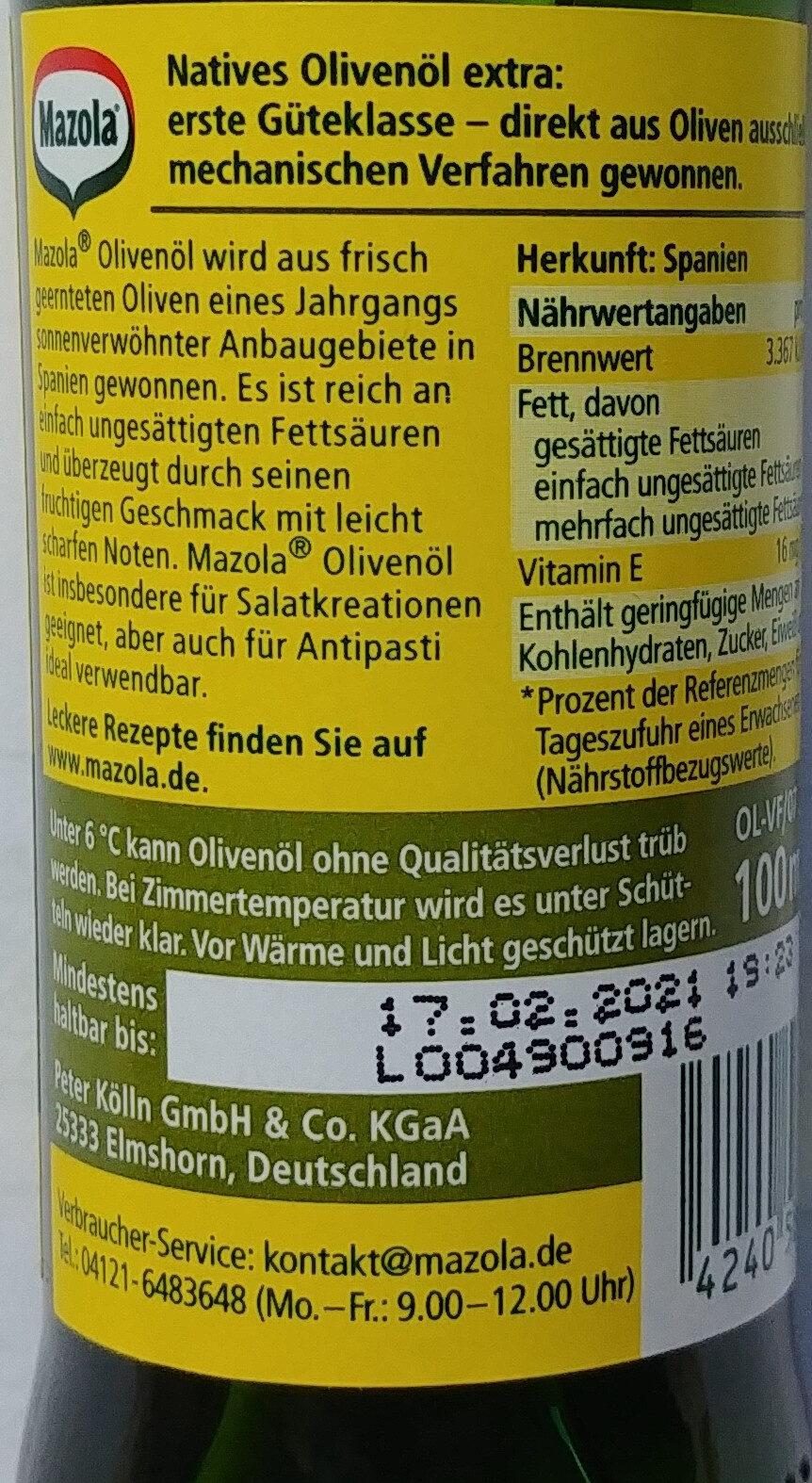 Mazola Olivenöl - Zutaten - de