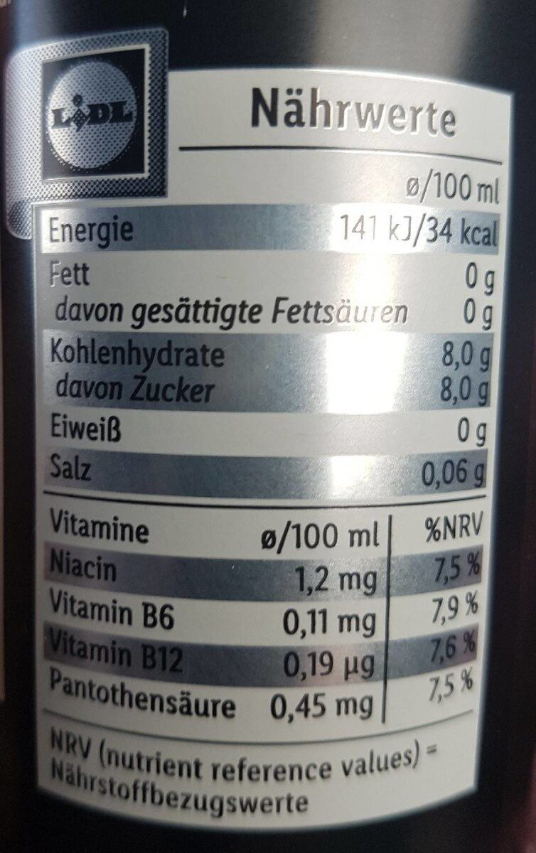 Cold Brew Coffee Energy Drink - Nährwertangaben - de