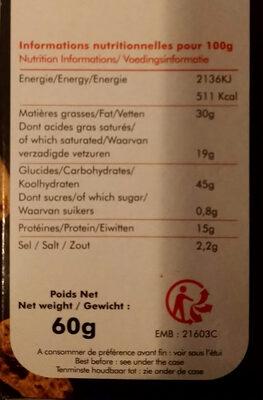 Feuilletés fromage & olives noires - Nutrition facts - fr