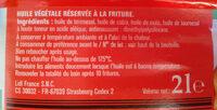 Vita d'or Spéciale Friture - Ingredienti - fr