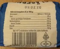 Fass Butter Gesalzen Bio - Zutaten - de