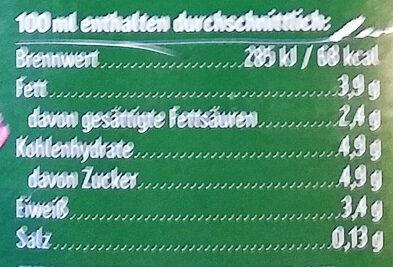 Frische Bio Heumilch 3,8% Fett - Nutrition facts