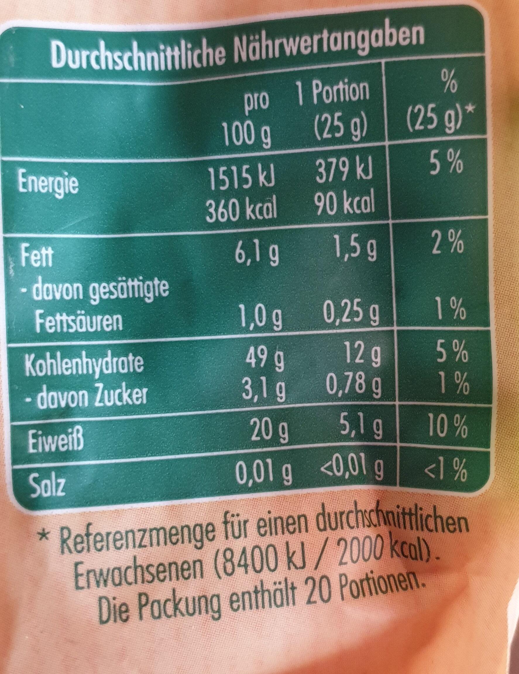 Kichererbsen Getrocknet / Pois chiches secs - Nutrition facts - de