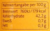 Mango Fruchtaufstrich - Informations nutritionnelles