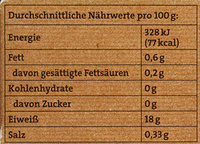 Kabeljaufitlets - Nutrition facts - de