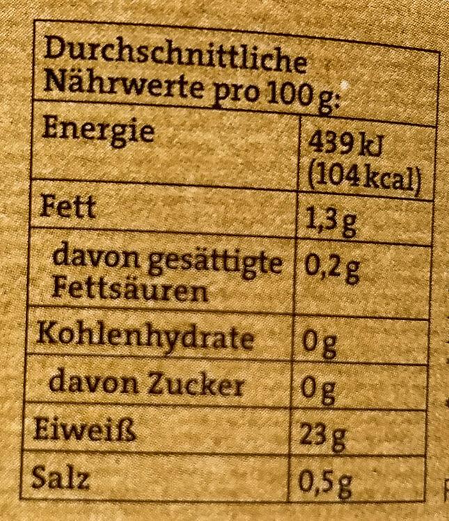 Thunfisch Filets - Informations nutritionnelles - de
