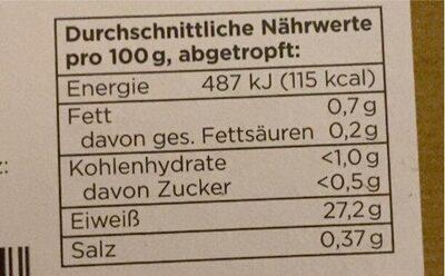 Thunfisch Filets - Valori nutrizionali - de