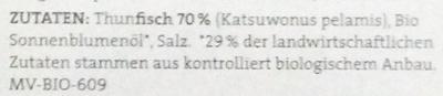Thunfischfilets in Bio-Sonnenblumenöl - Zutaten - de