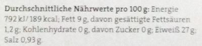 Thunfischfilets in Bio-Sonnenblumenöl - Nährwertangaben