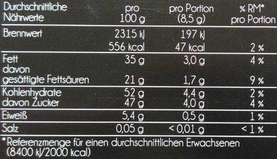 Edler Zartbitterer Schokoladen-Riegel mit weißen Schokogipfeln - Nutrition facts