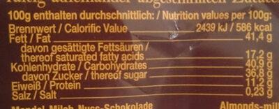 Ma-Mi-Nu Schokolade - Nutrition facts