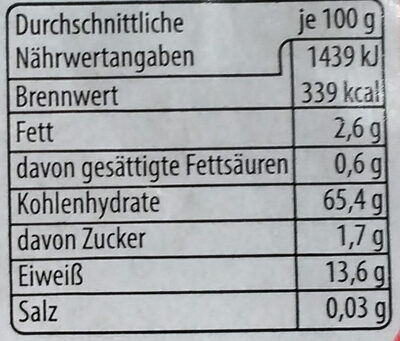 Buchweizen - Nährwertangaben - de