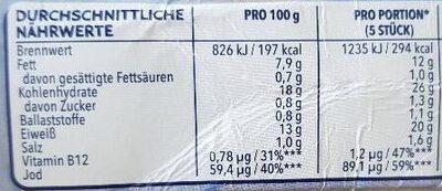 12 Omega 3 Fischstäbchen - Informations nutritionnelles - de