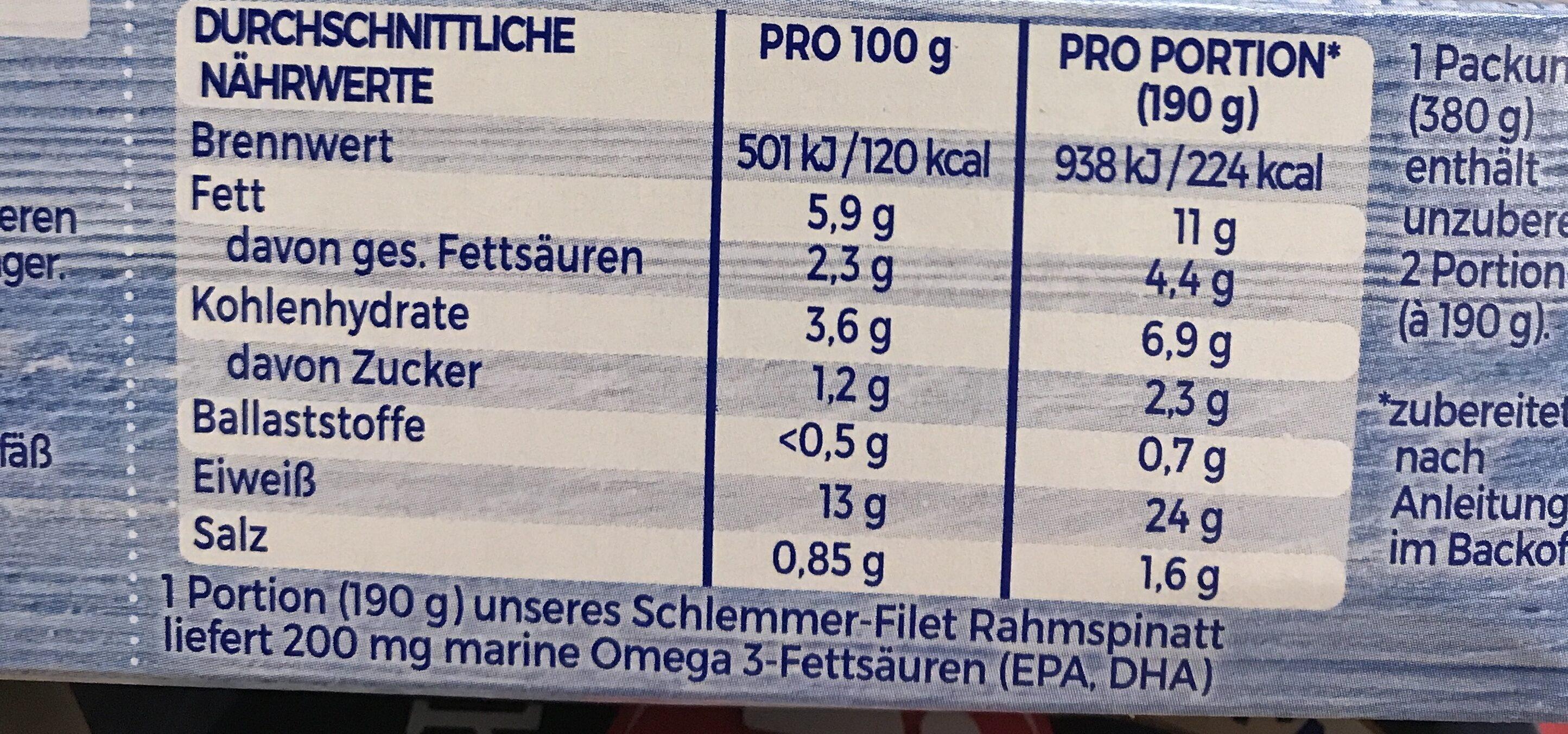 Schlemmer Filet, Rahm Spinat Mit Dem Blubb - Voedingswaarden - fr
