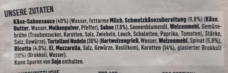 Tortellini Käse Sahnesauce - Ingrediënten