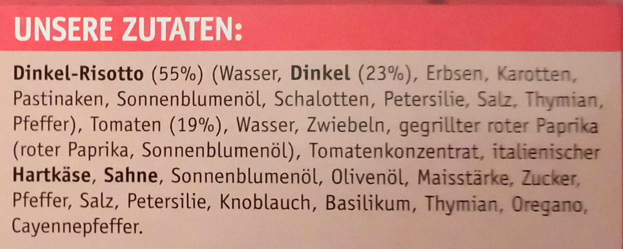 Dinkel-Risotto mit Tomaten - Ingrédients - de