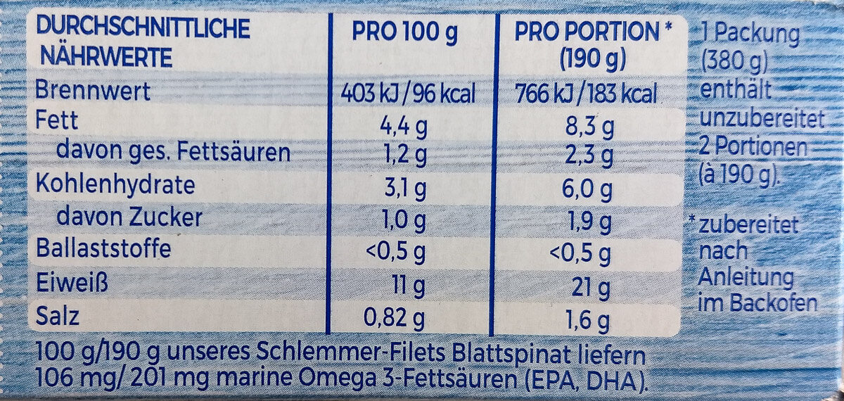 Schlemmer-Filet Blattspinat mit Käse - Nutrition facts - de
