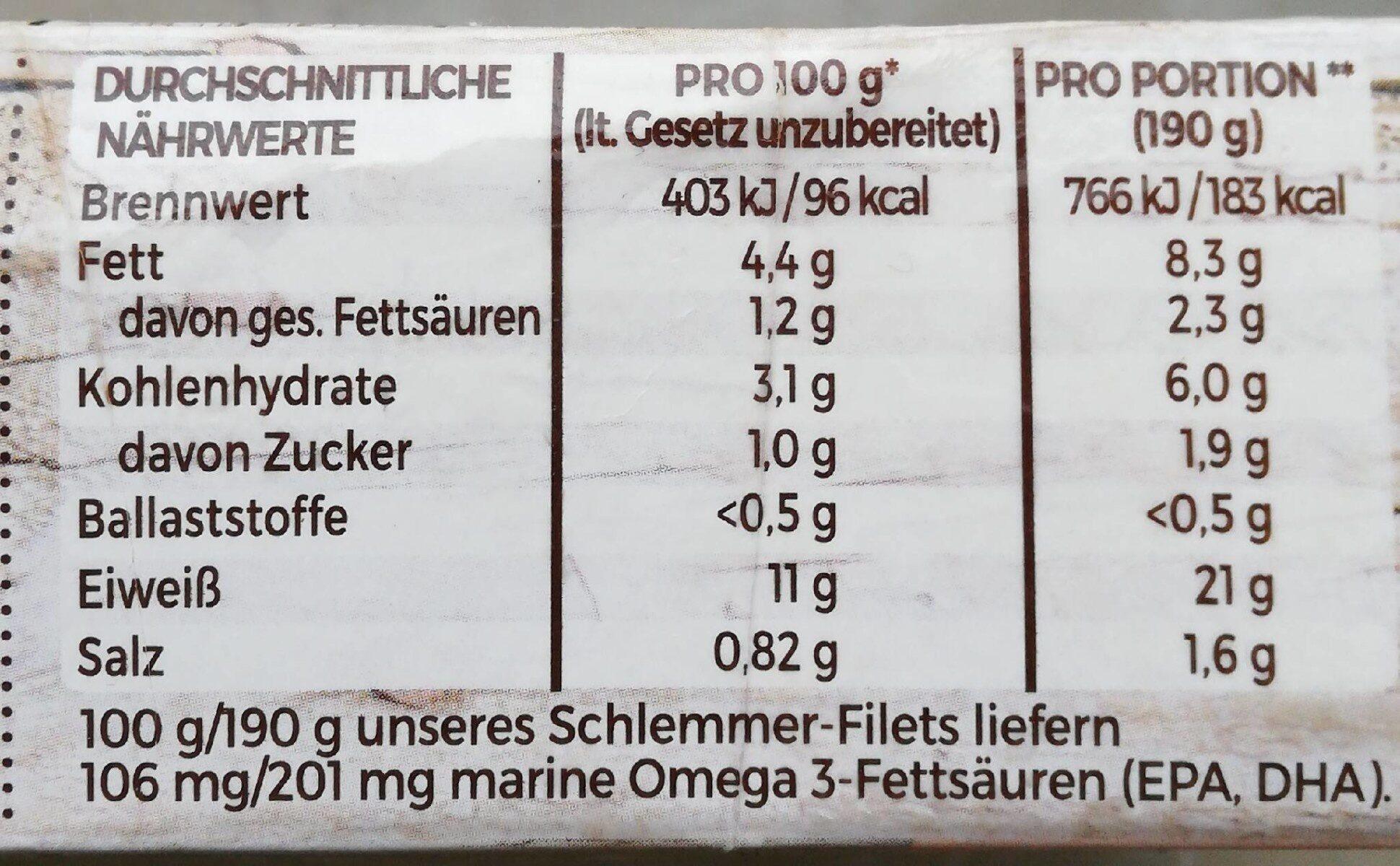 Schlemmer-Filet Blattspinat mit Käse - Informations nutritionnelles - de