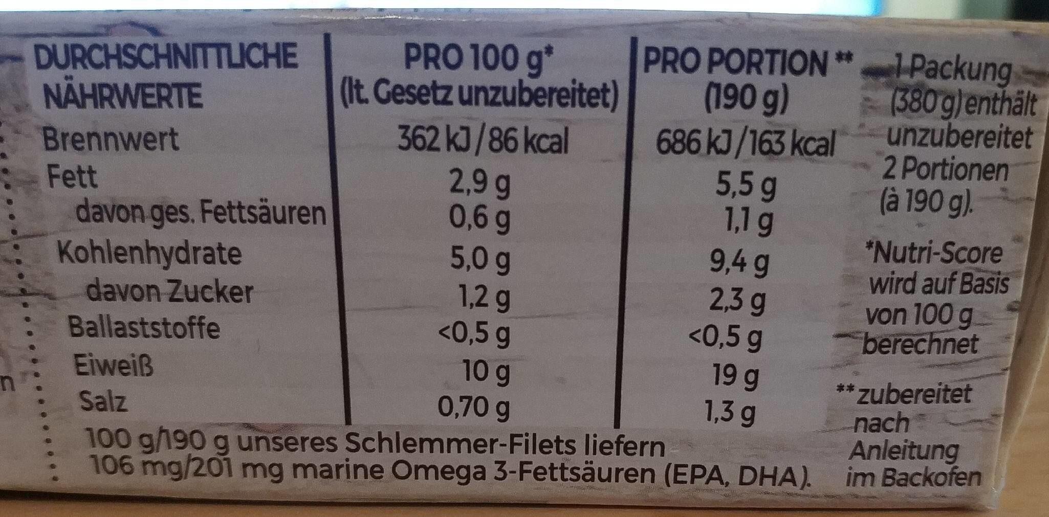 Schlemmer-Filet Grünes Gemüse - Brokkoli, Blattspinat, Erbenschoten - Informations nutritionnelles - de