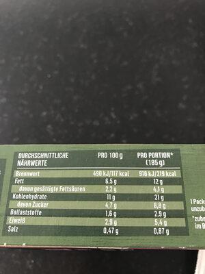 Veggie Ofen Gemüse Tortilla - Nutrition facts - de
