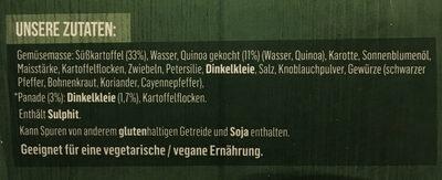 Veggie Love Süsskartoffel Patties - Ingredients - en