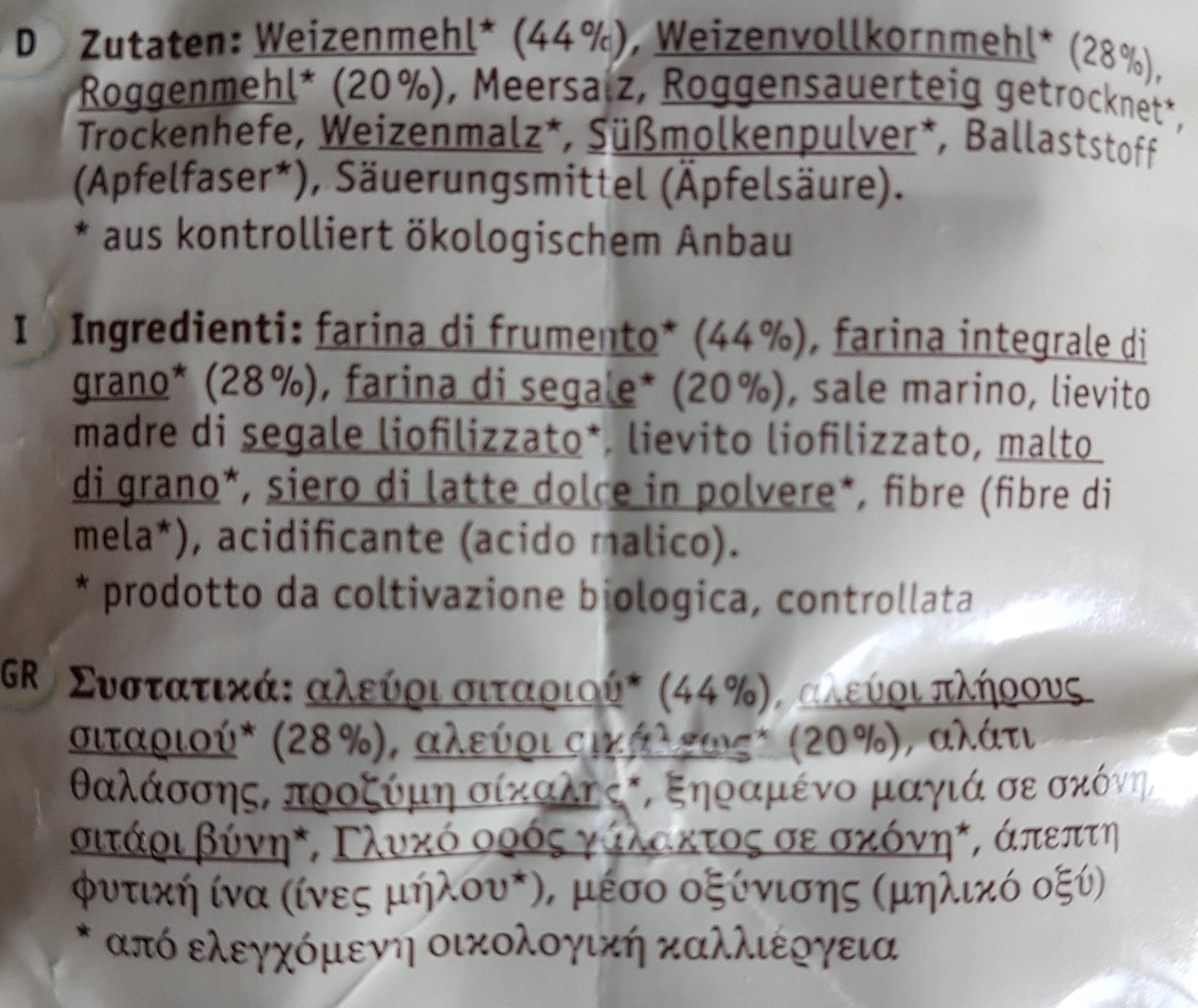 Bauernbrot - Ingredients