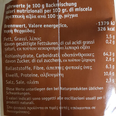 Bauernbrot - Nutrition facts