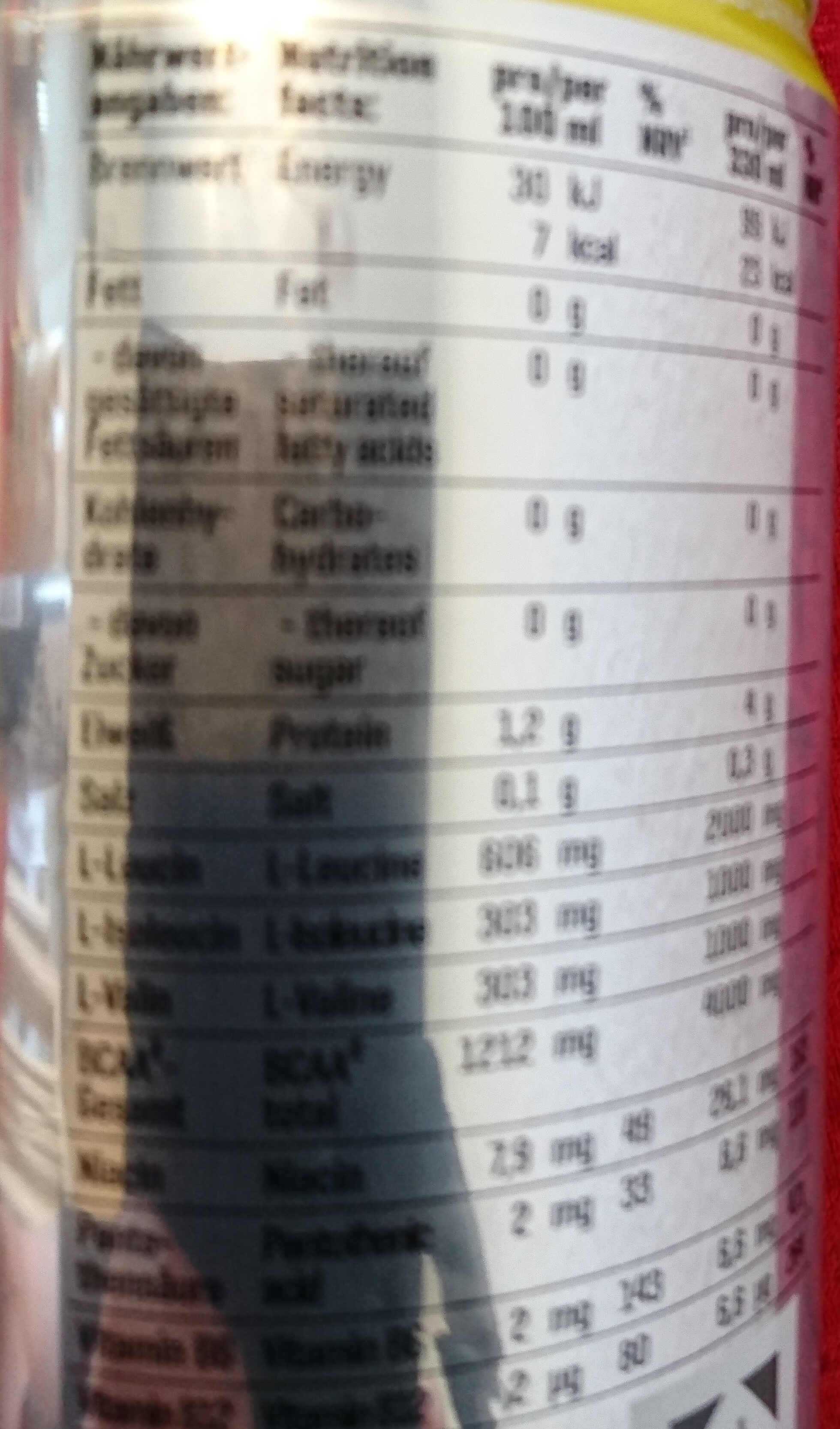 BCAA Kick Ice Tea Lemon - Nutrition facts