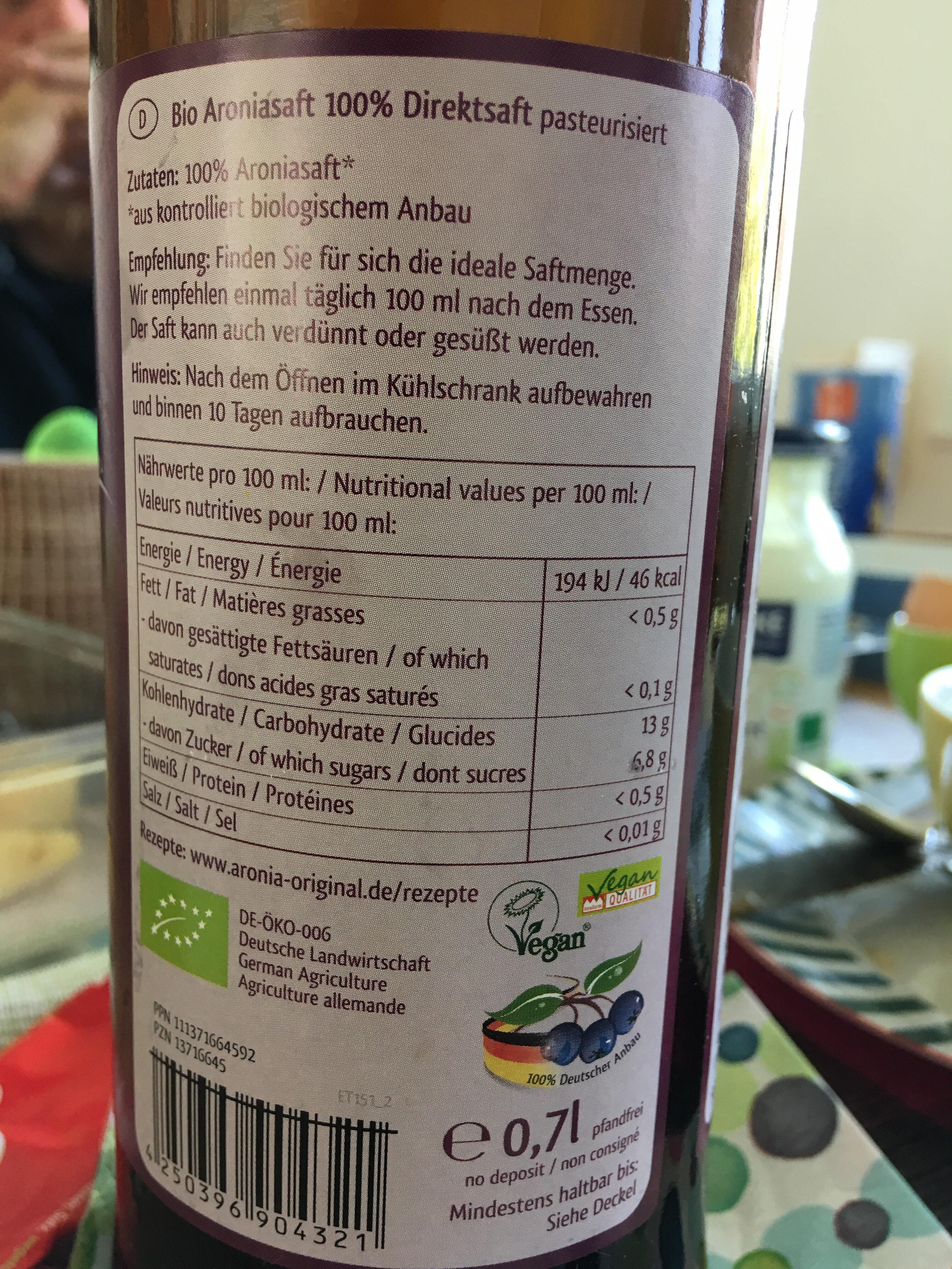 Aronia Direktsaft - Ingrediënten