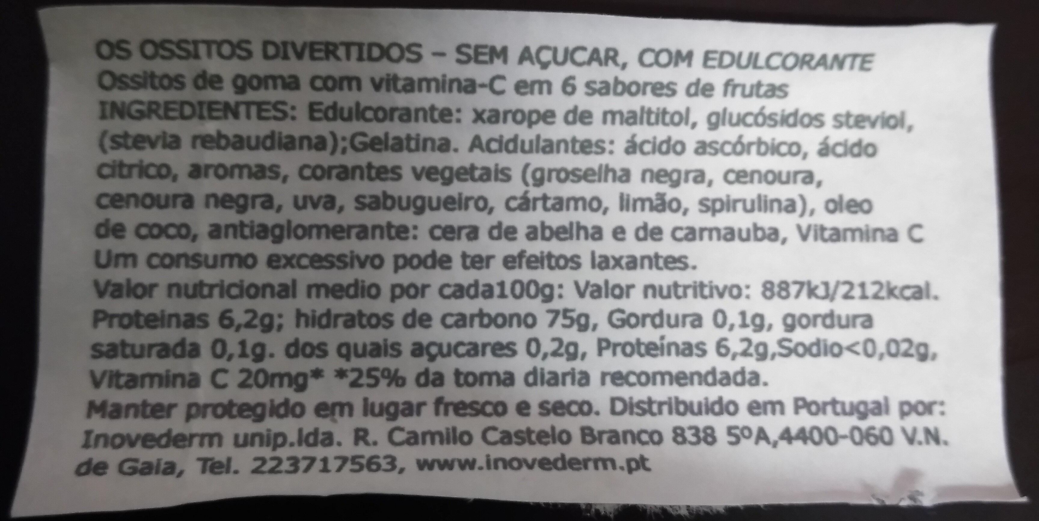 Frusitos - Ingredientes - pt