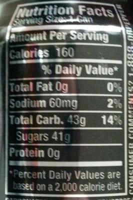 Dr. Pepper Cherry - Informations nutritionnelles - de
