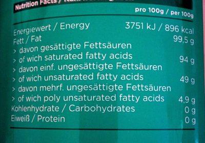 Premium Grade ORganic Coconut Oil - Nutrition facts