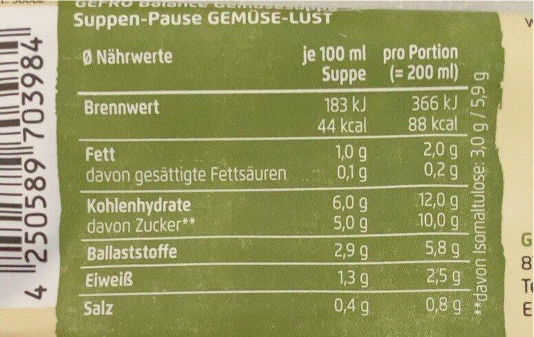 Suppen-Pause Gemüse-Lust - Información nutricional - de