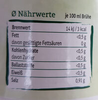 Gemüsebrühe Pur - Nährwertangaben - de