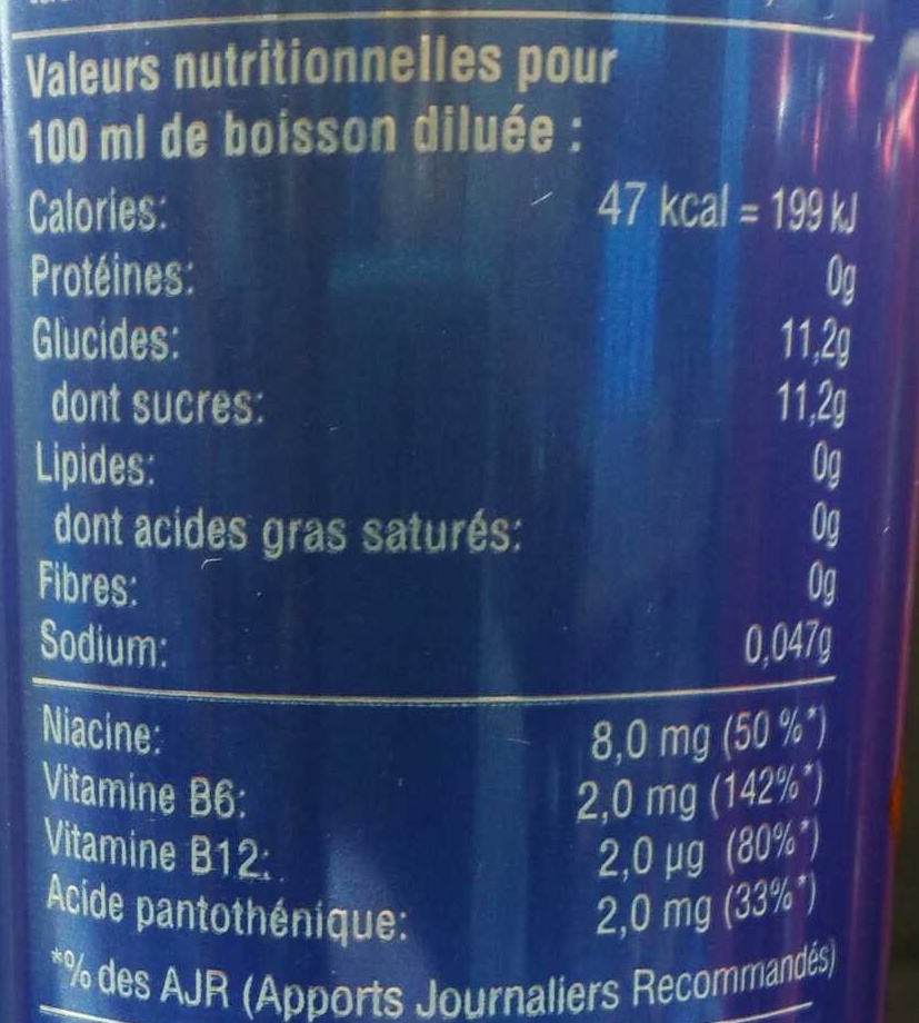 Superman - Informations nutritionnelles - fr