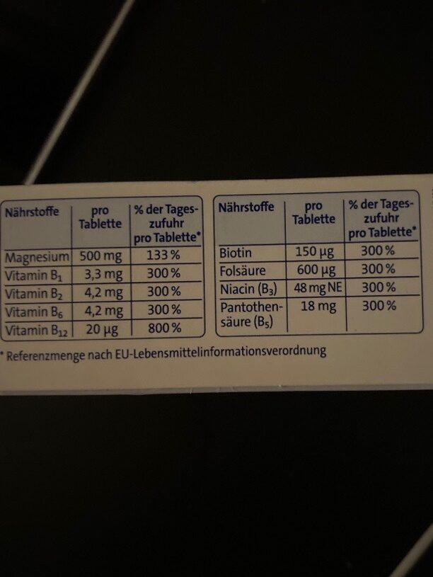 Magnesium 500 - Nährwertangaben - de