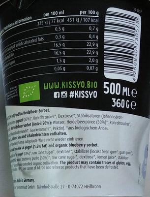 Bio Joghurteis aus fettermen Joghurt (1,5% Fett) und Bio Heidelbeer-Sorbet - Nährwertangaben