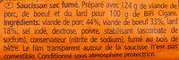 BiFi Cigare Bierworst - Ingredients - fr