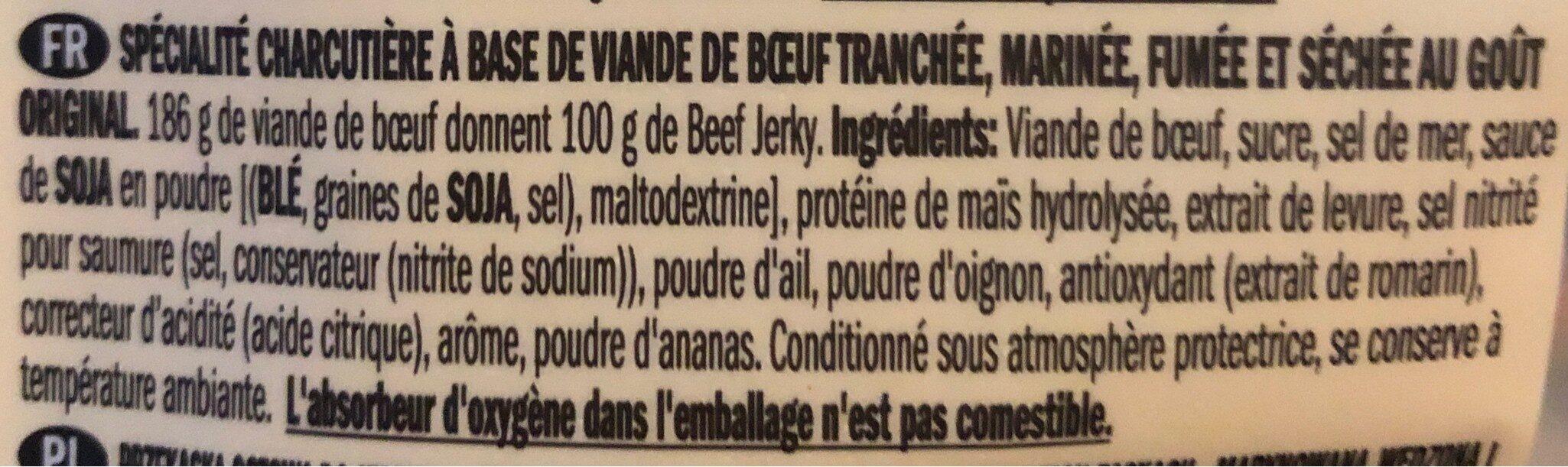 Beef jerky original - Ingredienti - fr