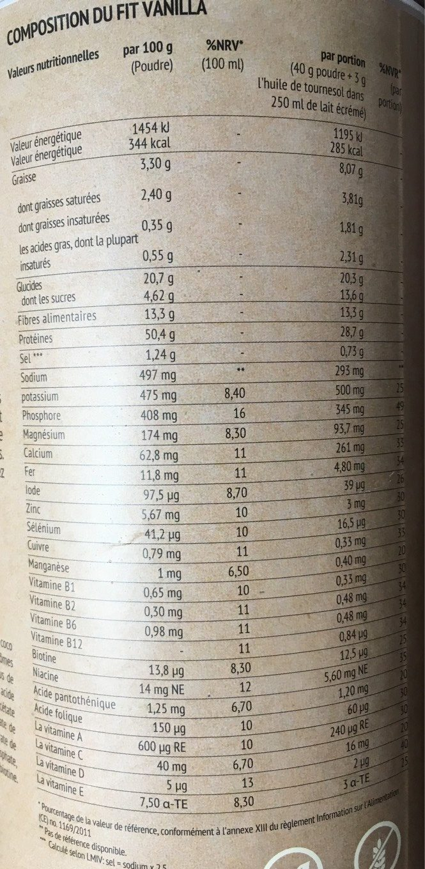 Fit Vanilla - Informations nutritionnelles