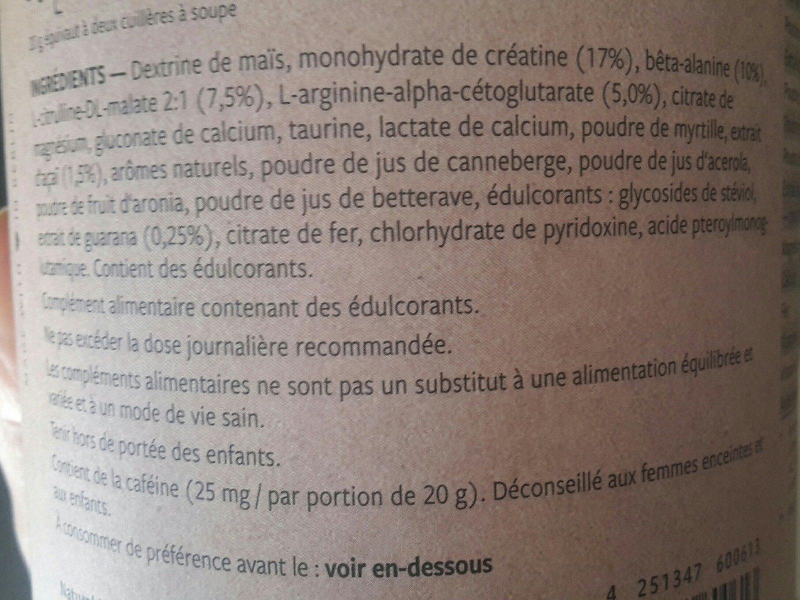 Workout booster - Ingrédients - fr