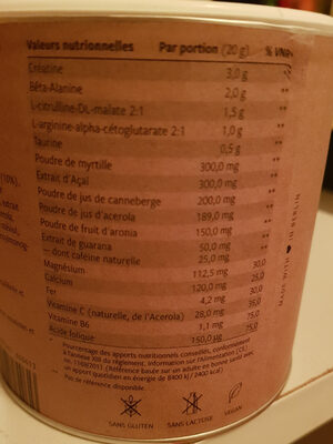 Workout booster - Informations nutritionnelles - fr