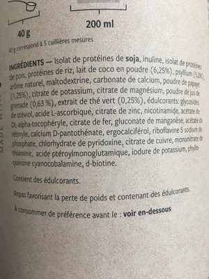 Fit Vanilla Vegan - Ingrédients - fr