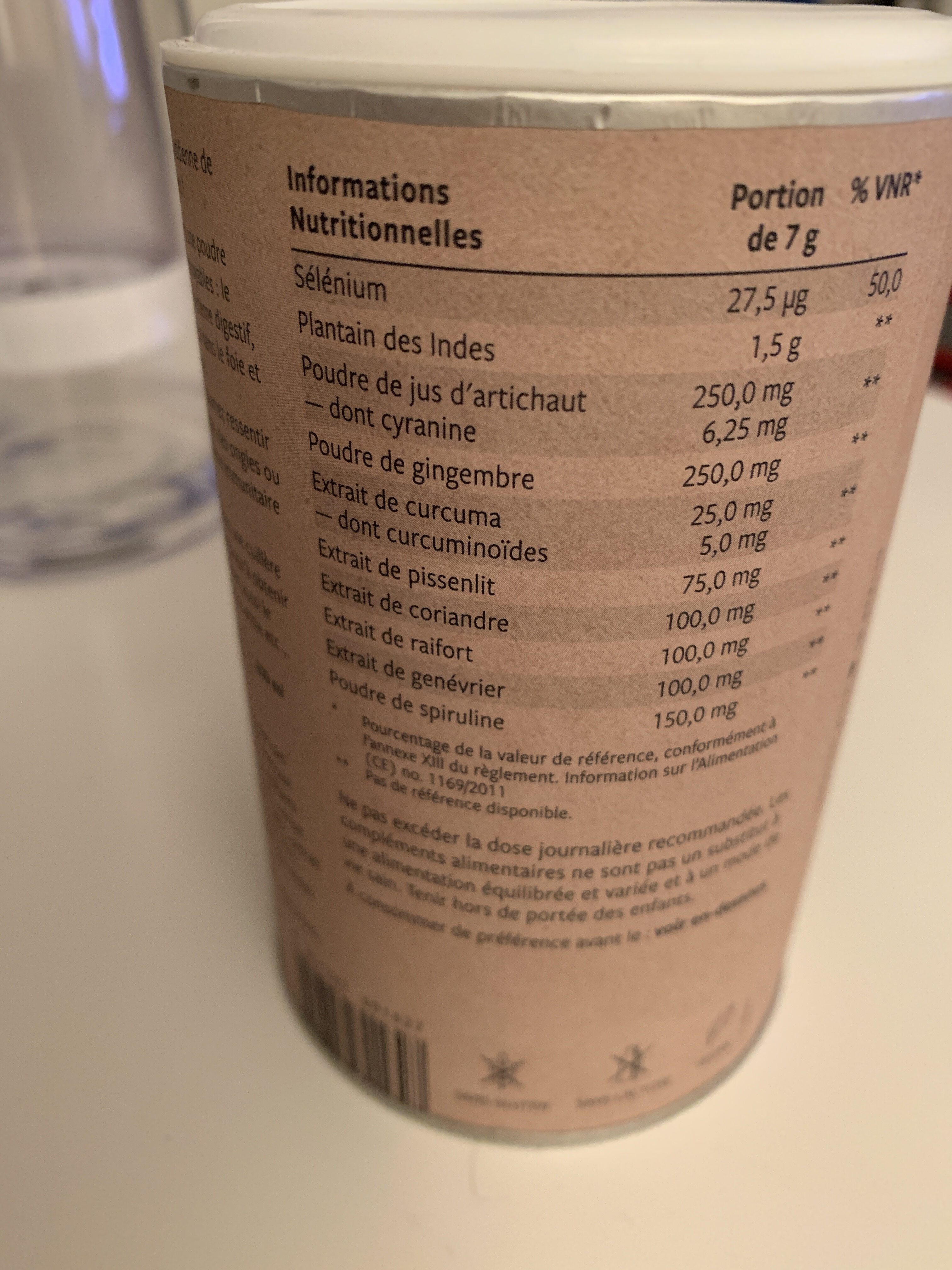 Pure body - Informations nutritionnelles