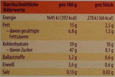 Bio Dominosteine - Nutrition facts - de